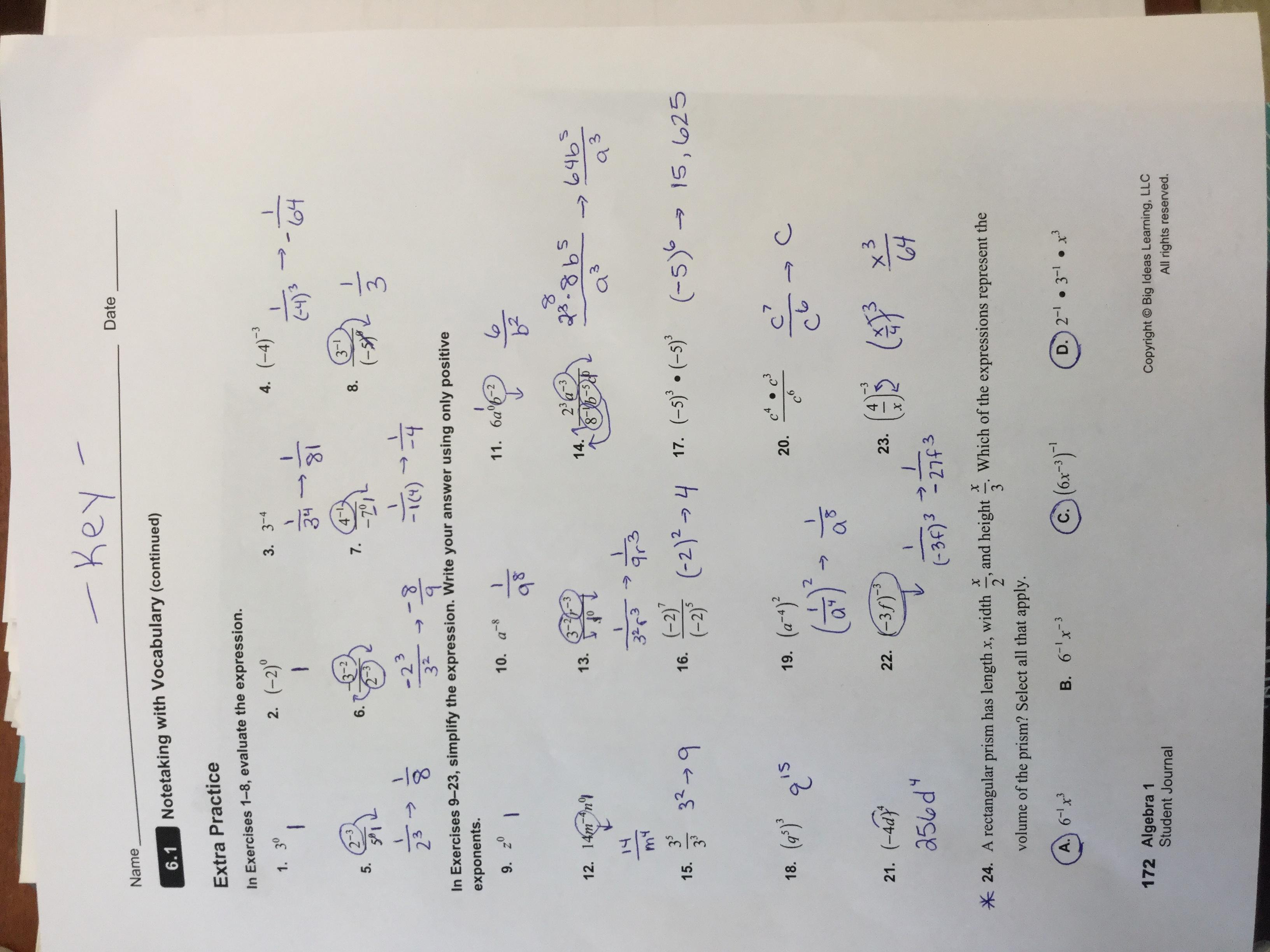big ideas math answers 7th grade